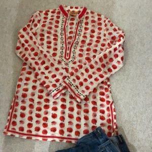 Like New! Tory Burch red hedgehog print tunic